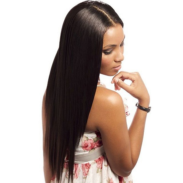 Human Hair Glueless Full Lace Glueless Lace Front Full Lace Wig style Brazilian Hair Straight Natural Black Wig 130% 150% Density with Baby Hair Natural Hairline African American Wig 100% Hand Tied