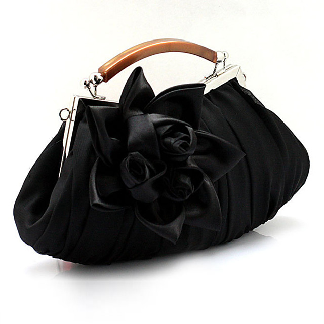 Women's Bags PU Leather Satin Evening Bag Ruffles Flower Solid Colored Floral Print Wedding Bags Wedding Party Event / Party White Black Purple Red