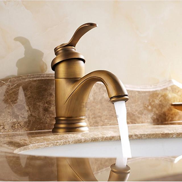 Bathroom Sink Faucet - Waterfall Antique Brass Centerset Single Handle One HoleBath Taps