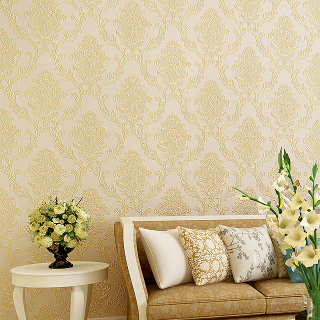 Wallpaper Non-woven Paper Wall Covering - Self adhesive Damask