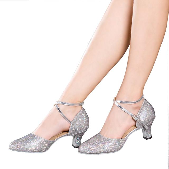 Women's Latin Shoes Ballroom Shoes Salsa Shoes Line Dance Sandal Heel Sparkling Glitter Ruched Cuban Heel Black Silver Gold Buckle 2021