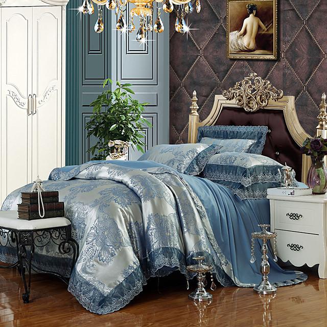 Duvet Cover Sets Luxury Silk / Cotton Blend Jacquard 4 PieceBedding Sets / >800