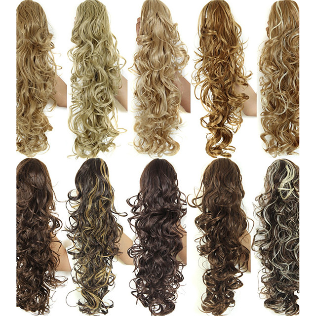 30inch long curly ponytail claw clip synthetic fake hair ponytail for women