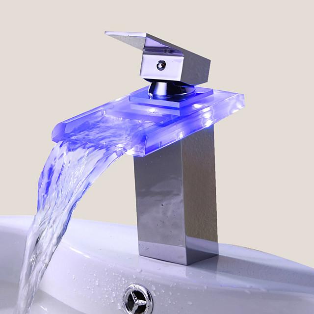 Bathroom Sink Faucet - LED / Waterfall Chrome Centerset One Hole / Single Handle One HoleBath Taps / Brass