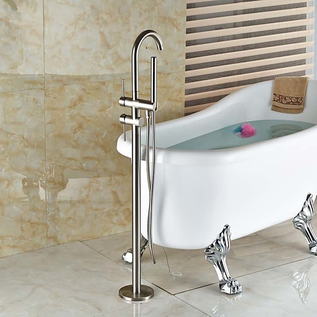 Bathtub Faucet Contemporary Nickel Brushed Floor Standing Ceramic Valve Bath Shower Mixer Taps Widespread Adjustable to Cold/Hot Water