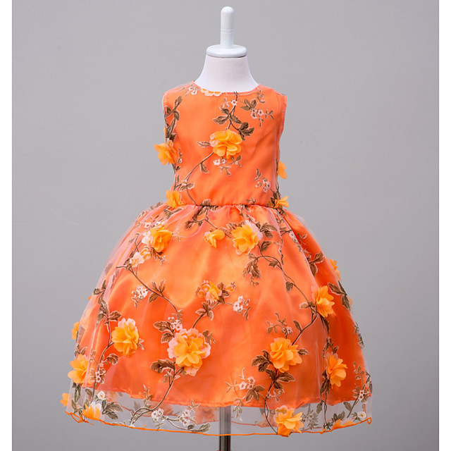 Kids Girls' Floral Going out Weekend Floral Sleeveless Dress Orange
