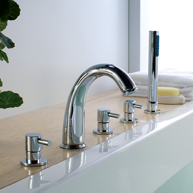 Moderne Art déco/Retro Modern Badewanne & Dusche Regendusche Wasserfall Handdusche inklusive Mit ausziehbarer Brause Verbreitete