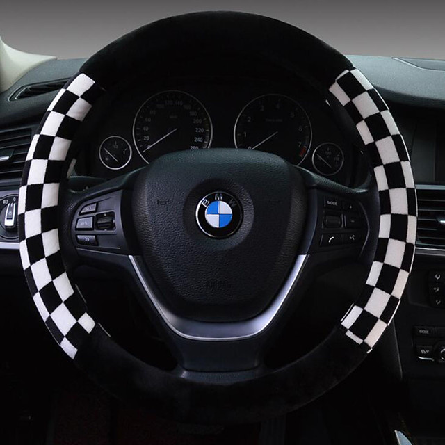 Steering Wheel Covers Plush 38cm Brown / White / Red For universal