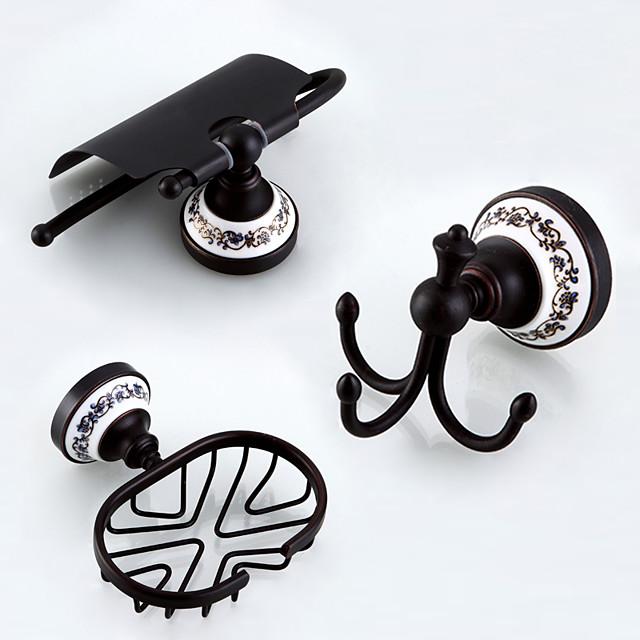 Bathroom Accessory Set Antique Brass 3pcs - Hotel bath Toilet Paper Holders / Robe Hook / soap dish