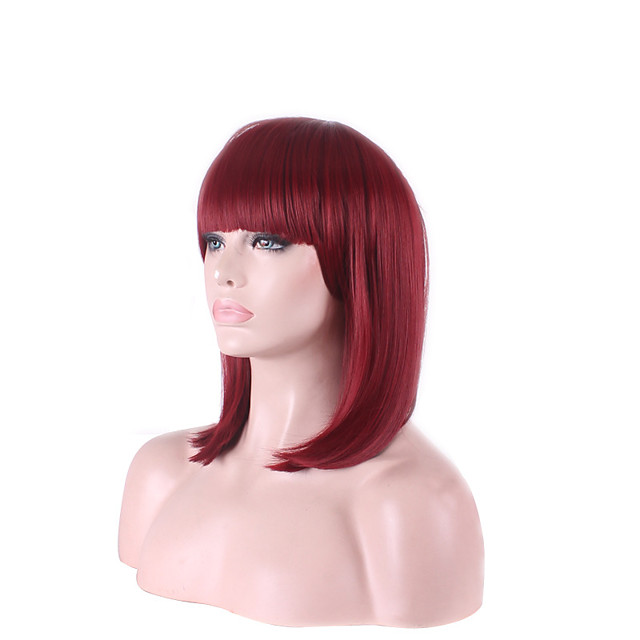Synthetic Wig Cosplay Wig Straight Straight Bob Wig Short Medium Length Fuxia Synthetic Hair Women's Red