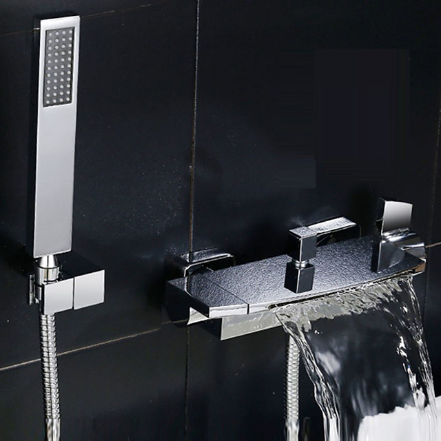 Bathtub Faucet with Handled Shower Head Two Handles/Two Holes Contemporary Chrome Shower Faucet with Ceramic Valve/Adjustable to Cold and Hot Water  Bath Mixer Taps
