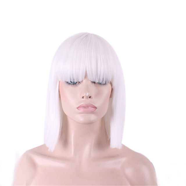 Synthetic Wig Straight Yaki Kardashian Straight Yaki Bob With Bangs Wig Medium Length White Synthetic Hair Women's White