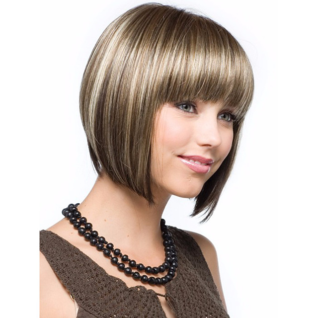 Synthetic Wig Wavy Wavy Bob With Bangs Wig Blonde Short Brown Synthetic Hair Women's Highlighted / Balayage Hair Middle Part Blonde StrongBeauty