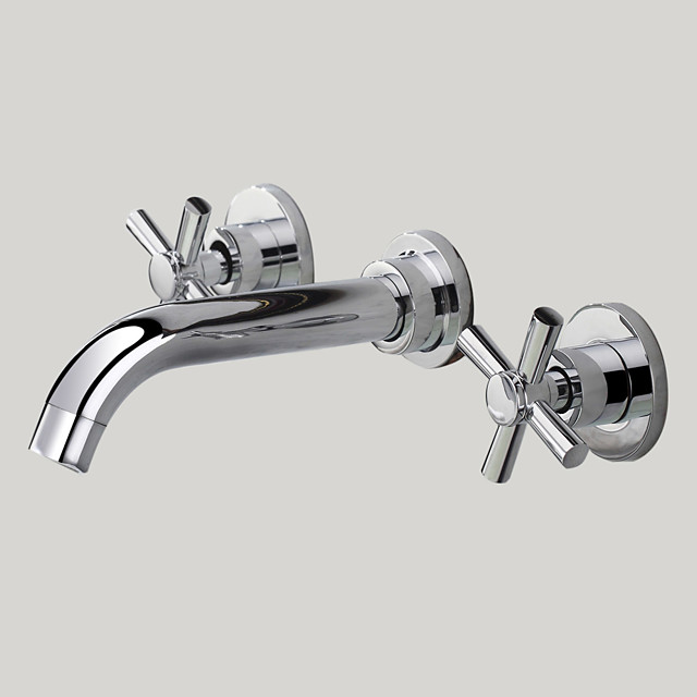 Bathroom Sink Faucet - Wall Mount / Widespread Chrome Wall Mounted Two Handles Three HolesBath Taps