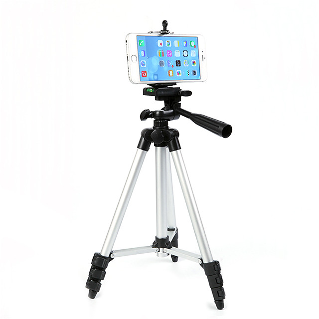 Aluminium 4 sections Cellphone Tripod Mobile Phone Support Aluminum Light Weight Portable with Cell Phone Holder Travel Folding Size for Phone 11/Pro 7/8plus XR Xs Max