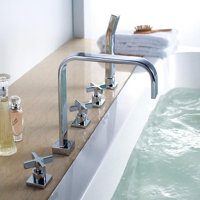Moderne Art déco/Retro Modern Badewanne & Dusche Wasserfall Regendusche Verbreitete Handdusche inklusive Mit ausziehbarer Brause with