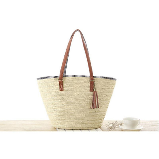 Women's Bags Tote Straw Bag Bohemian Style Daily Straw Bag Handbags Light Brown Army Green Beige