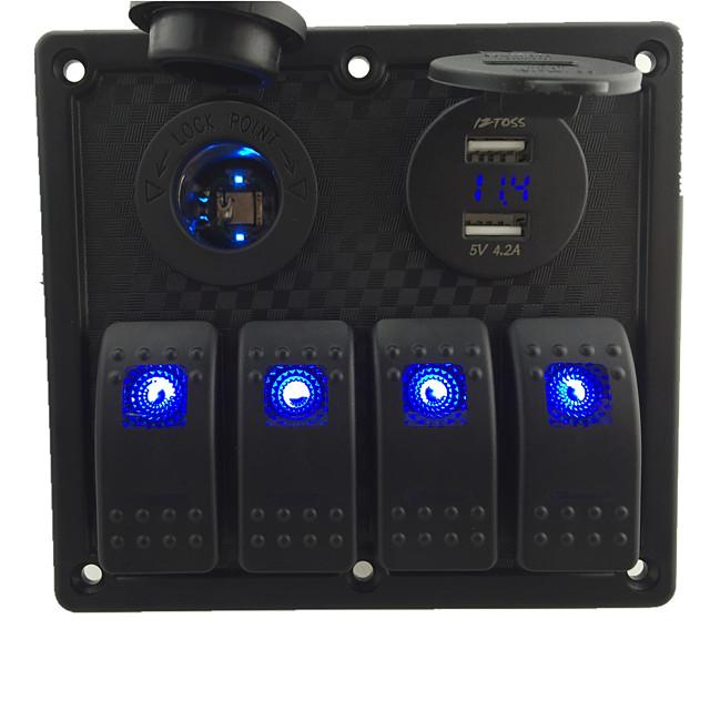 12V-24V Dc 4 Gjengen Vanntett Marine Blå LED Bytte Panel Med LED Stikkontakten og 4.2A USB Voltmeter