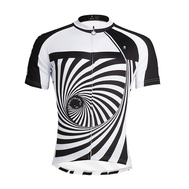 ILPALADINO Men's Short Sleeve Cycling Jersey Black / White Stripes Bike Top Mountain Bike MTB Road Bike Cycling Breathable Quick Dry Ultraviolet Resistant Sports Clothing Apparel / Stretchy