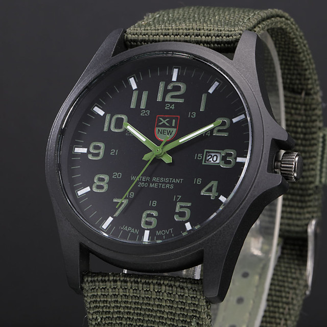 Men's Military Watch field watch Analog Quartz Casual Calendar / date / day / One Year / Stainless Steel