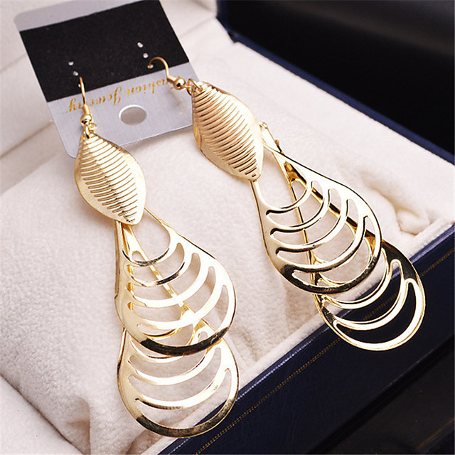 Women's Girls' Fashion Gold Plated Earrings Jewelry Gold / Silver For Wedding Party Casual / Multi-stone