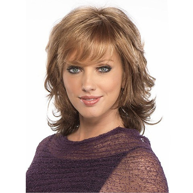 Synthetic Wig Cosplay Wig Curly Curly Bob With Bangs Wig Blonde Medium Length Dark Brown Synthetic Hair Women's Side Part African American Wig Blonde Brown