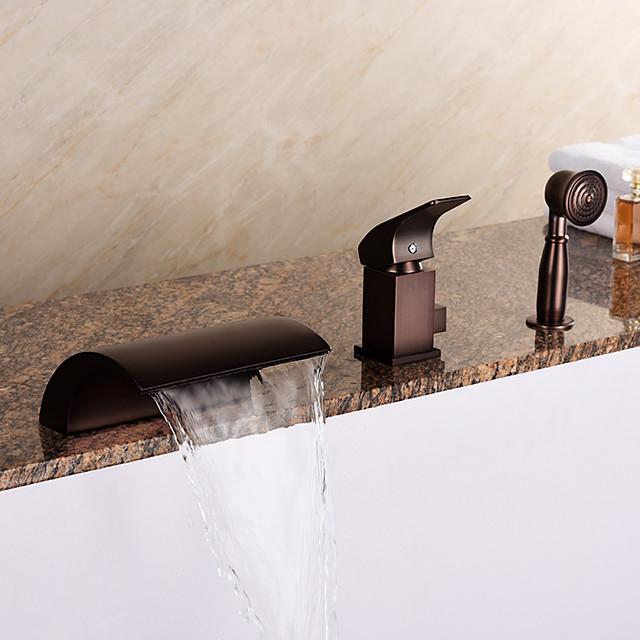 Bathtub Faucet - Antique Oil-rubbed Bronze Roman Tub Ceramic Valve Bath Shower Mixer Taps / Brass / Single Handle Three Holes