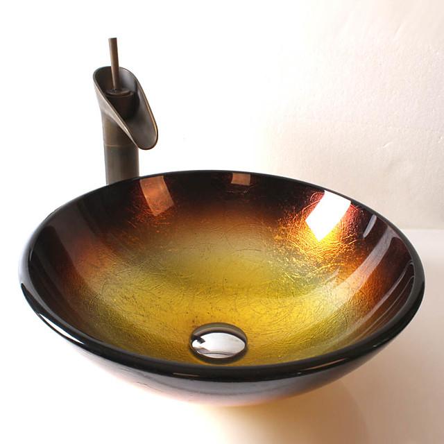 Grifo de baño de latón antiguo, lavabo de baño redondo de vidrio templado, anillo de montaje de aleación de zinc cromado