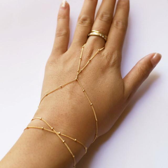 Dame Ringarmbånd Perler Slaver av gull damer Enkel Stil Mote søt stil Legering Armbånd Smykker Gylden Til Daglig Avslappet
