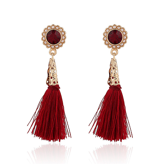 Women's Flower Tassel Vintage European Fashion Pearl Gold Plated Earrings Jewelry Red For Party Daily Casual