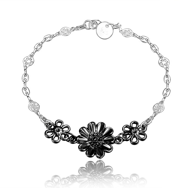 Women's Chain Bracelet Flower Vintage Fashion Sterling Silver Bracelet Jewelry Silver / Black For Wedding Party Daily Casual
