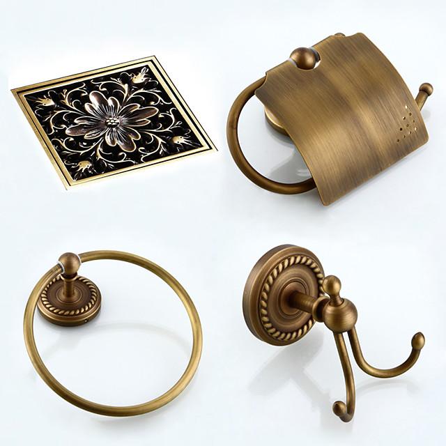 fürdőszoba kiegészítők készlet antik sárgaréz tartalmaz WC-papír tartó, köpeny horog, törölköző gyűrű és lefolyó 4db