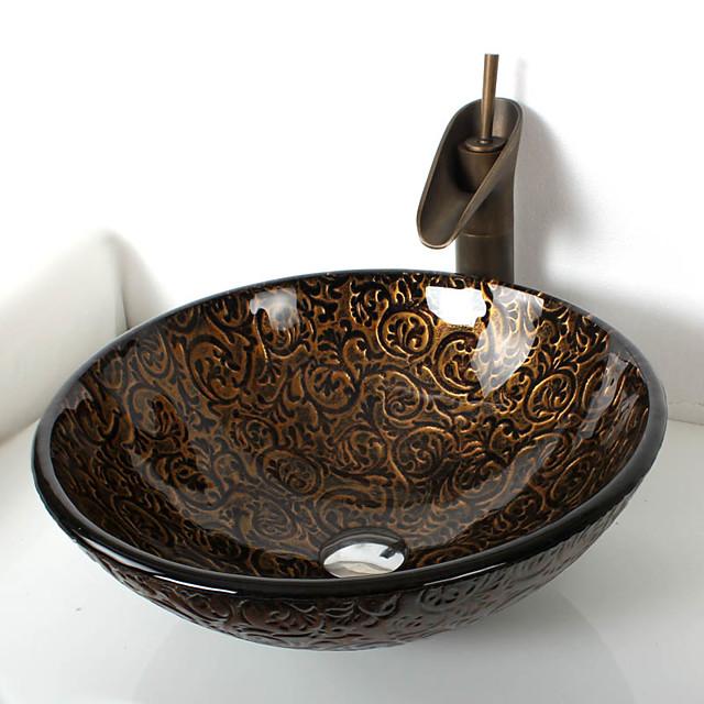 Antiker Messing-Badezimmerhahn, rundes Waschbecken aus gehärtetem Glas, Montagering aus Chrom-Zink-Legierung