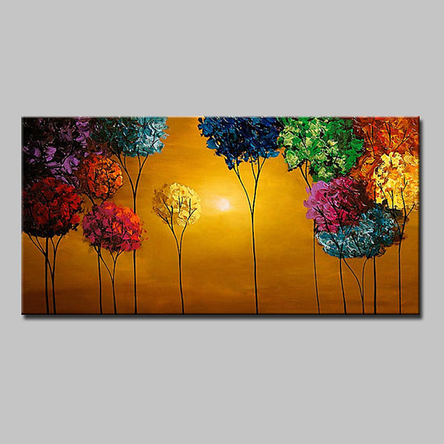 Oil Painting Hand Painted Horizontal Floral / Botanical Modern With Stretched Frame
