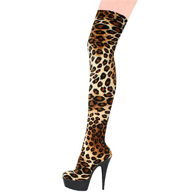 Women's Boots Sexy Boots Stiletto Heel / Platform Animal Print / Zipper Customized Materials Over The Knee Boots Fashion Boots / Club Shoes Fall / Winter Leopard / White / Party & Evening