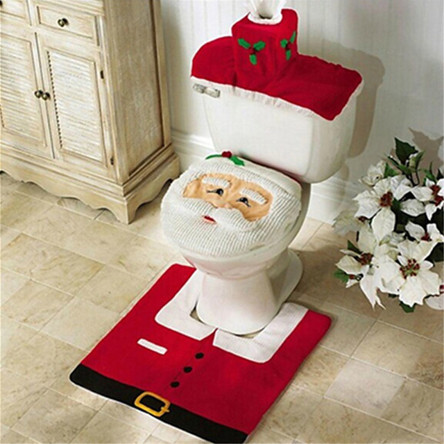Santa Snowman Deer Spirit Toilet Seat Cover Rug Bathroom Set With Paper Towel Cover For Christmas Gift Premium Year Home Decorations