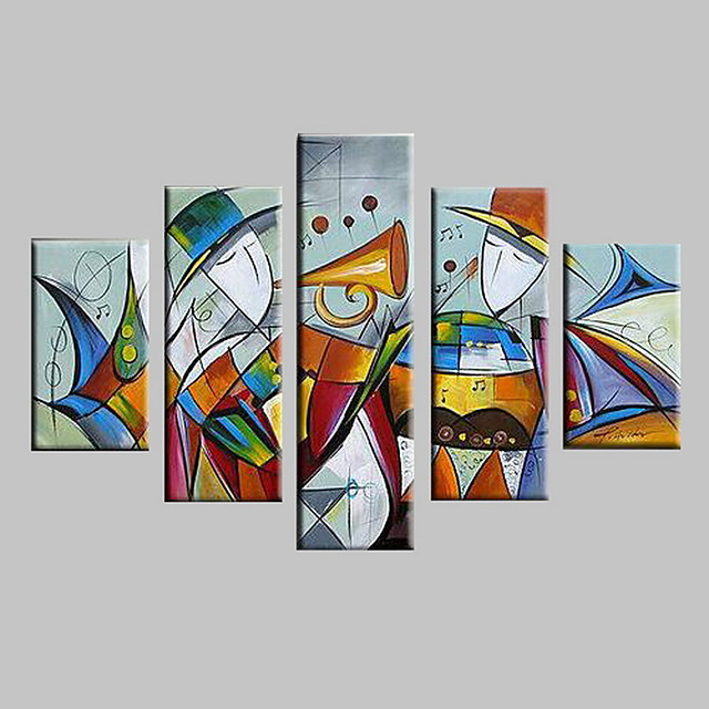 Oil Painting Hand Painted - Abstract Landscape Modern With Stretched Frame / Five Panels / Stretched Canvas