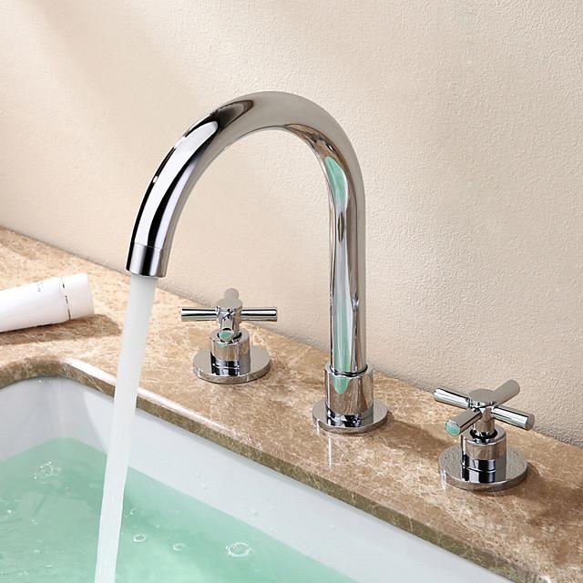 rozsdamentes acél fürdőszoba mosogató csaptelep - elterjedt króm elterjedt két fogantyúval három lyukfürdő csapok