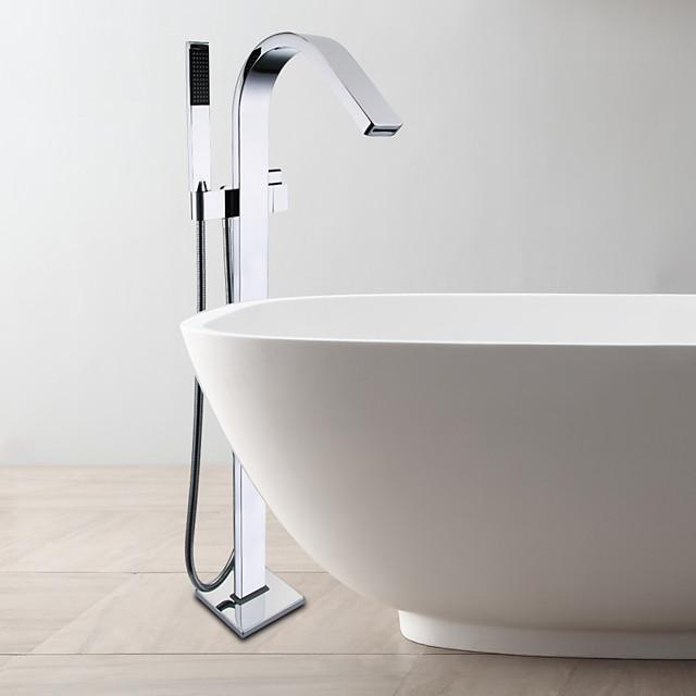 kupari kylpyamme hana, lattialle asennettava vakio nokka nykyaikainen kromi keraaminen venttiili yhden kahvan yhden reiän kylpyamme suihkuhana hana kuumalla ja kylmällä kytkimellä