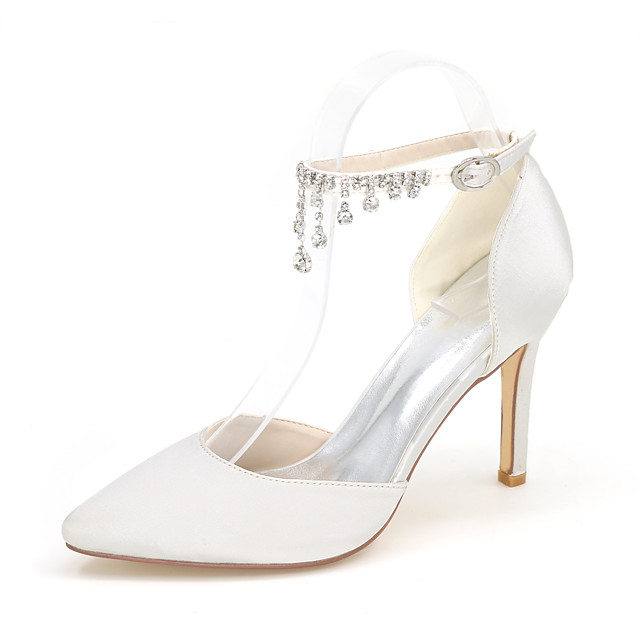 Women's Wedding Shoes Glitter Crystal Sequined Jeweled Plus Size Taller - Height Increasing Elevator Shoes Pointed Toe Basic Pump Wedding Party & Evening Rhinestone Buckle Satin Null Null Summer