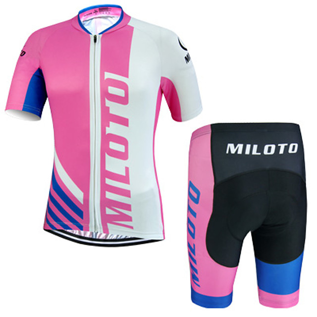 Miloto Men's Short Sleeve Cycling Jersey with Shorts Pink Bike Shorts Jersey Clothing Suit Breathable Quick Dry Sweat-wicking Sports Polyester Lycra Sports Mountain Bike MTB Road Bike Cycling