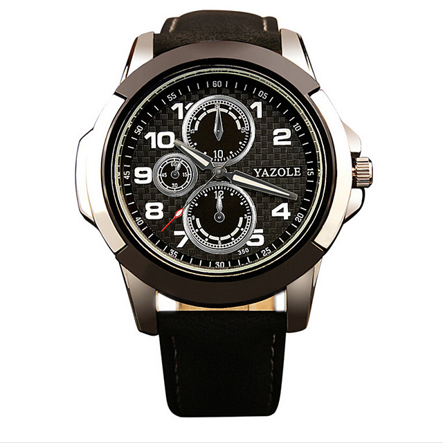Men's Sport Watch / Fashion Watch / Wrist Watch Noctilucent Leather Band Casual Black / Brown