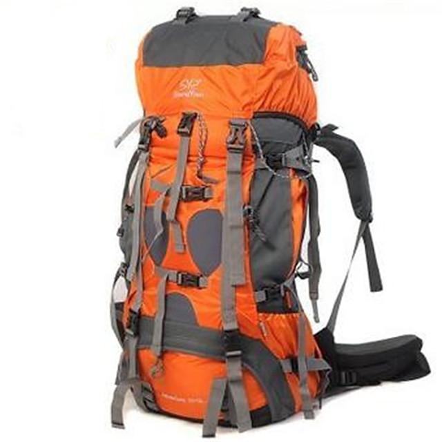 Sheng yuan 70+5 L Hiking Backpack Rucksack Multifunctional Waterproof Rain Waterproof Heat Insulation Outdoor Camping / Hiking Climbing Traveling PU Leather Terylene Nylon Orange Army Green Blue