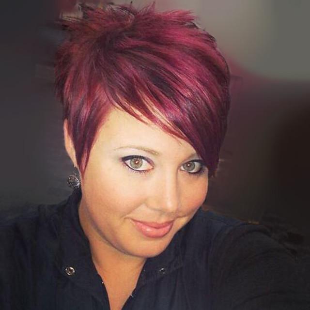 Human Hair Blend Wig Short Straight Pixie Cut Short Hairstyles 2020 With Bangs Straight Side Part Women's Medium Auburn#30 Jet Black #1 Burgundy#530 8 inch