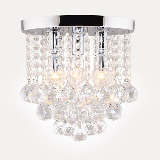 28 cm Semi Flush Mount Ceiling Light Modern LED Crystal Chandelier Chrome 3-Light Dining Room Bedroom Ceiling Lamp