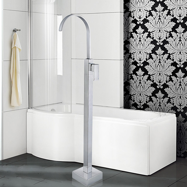 Contemporary Art Deco/Retro Modern Tub And Shower Waterfall Widespread Floor Standing Ceramic Valve Single Handle One Hole Chrome,
