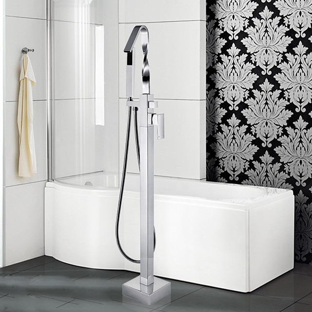 Contemporary Art Deco/Retro Modern Tub And Shower Waterfall Pullout Spray Floor Standing Ceramic Valve Single Handle One Hole Chrome,