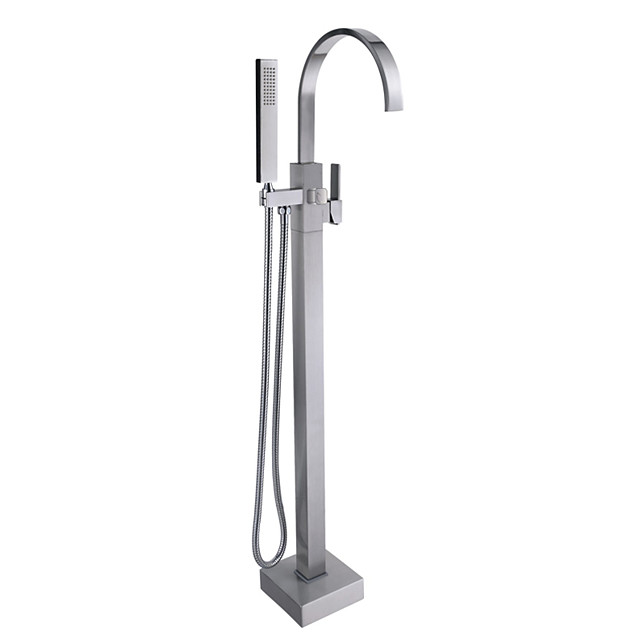 Contemporary Antique Art Deco/Retro Tub And Shower Waterfall Pullout Spray Floor Standing Ceramic Valve Single Handle One Hole Nickel