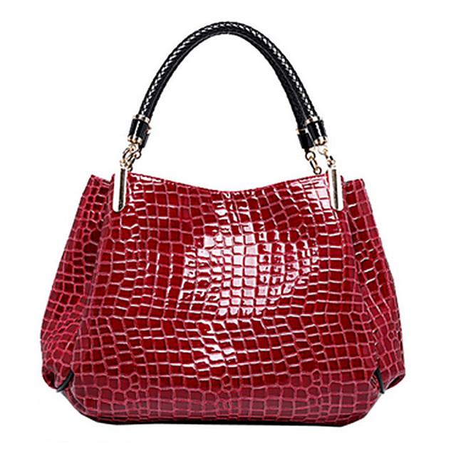Women's Bags Patent Leather Satchel Top Handle Bag Crocodile Handbags Formal Office & Career Black Dark Red Dark Blue