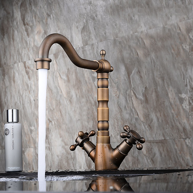Antique Copper Bathroom Sink Faucet,Centerset Two Handles One Hole Bath Taps with Hot and Cold Switch and Ceramic Valve